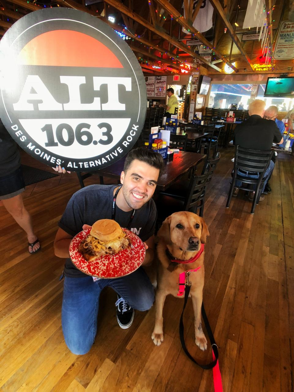 "ALT 160.3 DJ Alex Mac and Puppy Jake dog Jake with the ""Woodywich"""